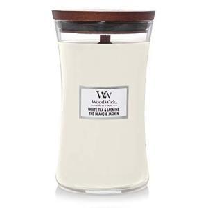 WoodWick 大きな砂時計 香り付きキャンドル ホワイトティー&ジャスミン|happysmile777