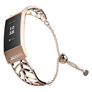 UMTELE Fitbit Charge 3 リーフ型ステンレススチールブレスレット レディース交換用バンド フルカバースクリーン保護ケース Fitb happysmile777