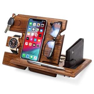 木製電話ドッキングステーション アッシュキーホルダー ウォレットスタンド 時計オーガナイザー メンズ ギフト 夫 妻 記念日 お父さん 誕生日 ナイト happysmile777