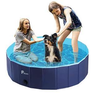 Pidsen ペット用プール ポータブル折り畳みバスグッズ 犬、猫用バスグッズ PVC製バスタブ (XL(120*120*30) ネイビー)|happysmile777