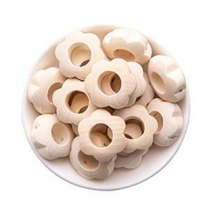 Mamimami Home 木製ビーズ 花 20個 約2.5cm 塗装なし ビーズ フラワー 天然素材 赤ちゃん おもちゃ DIY アレンジ 新生児|happysmile777