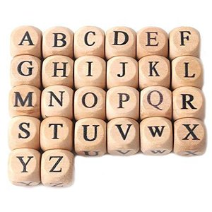 Mamimami Home 木製 ビーズ アルファベットビーズ 黒字 12mm/100個 木 英字 スクエア 天然素材 ナチュラル 質材 材料 diy|happysmile777