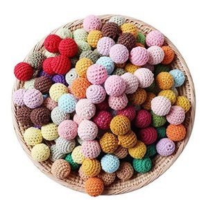 Mamimami Home かぎ針編みビーズ 16mm 50個 ミックスカラー 木製 ビーズ 丸玉 穴有り 天然素材 木 コットン diy 質材 素材|happysmile777