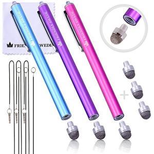 The Friendly Swede ペン先交換式 マイクロニットスタイラスペン 3本セット 交換用ペン先3個+携帯用ストラップ2本+マイクロファイバークリーニングクロス|happysmiles
