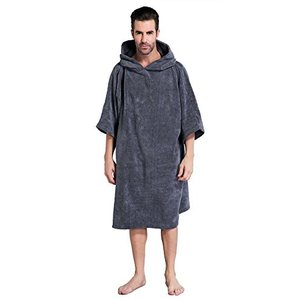 Winthomeお着替えポンチョ 速乾吸水 サーフィンポンチョ お着替えタオル フード付き 防寒 男女兼用 フリーサイズ (グレー)|happysmiles