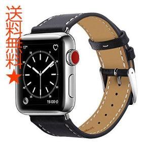 BRG For apple watchバンド,本革ビジネススタイル アップルウォッチバンド アップルウォッチ1、2、3 レザー製(42mm,ブラック)|happysmiles