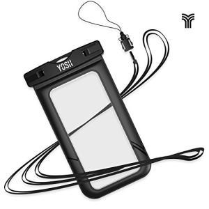 防水ケーススマホ用 YOSH〓防水携帯ケース透明パックiPhone/Android 6インチ以下全機種対応 ネックストラップ付 IPX8認定 ブラック|happysmiles