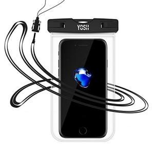 防水ケース iPhone7 YOSH〓スマホiPhoneとAndroid 6インチ以下全機種対応 ネックストラップ付属 IPX8認定・透明|happysmiles