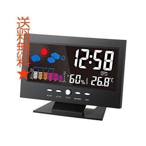 KKmoon ℃/? LCD デジタル温度湿度計 LCD温度湿度計 時計温度計湿度計 カレンダー/温度トレンドアラーム/快適度/天気予報/音声活性化 happysmiles