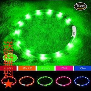 LED光る首輪, USB 再充電12個のLED[500m先から目視可能] 夜間 安全性 [3種類のライトモードを搭載] ミディアム ラージ(グリーン)|happysmiles