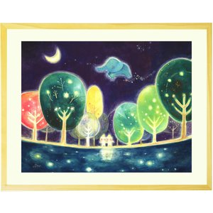 癒しの絵画 インテリア 絵 (心の森が輝く時間/額入り-Sサイズ・ポエム) クリスマスプレゼント イ...