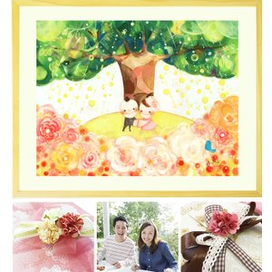 結婚記念日 プレゼント 結婚祝い 絵画 アート(Shine Tree/名前入れ-Lサイズ・ポエム付)...