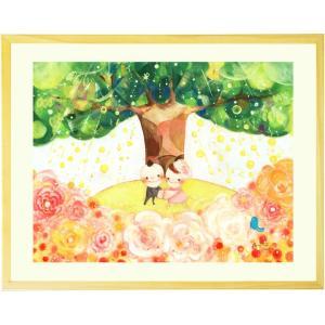 結婚記念日 結婚祝い プレゼント 絵画アート(Shine Tree/名前入れ-Mサイズ) 妻 両親 ...
