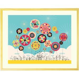 誕生日プレゼント 女性 絵画アート(幸せのパレード 黄色/名...