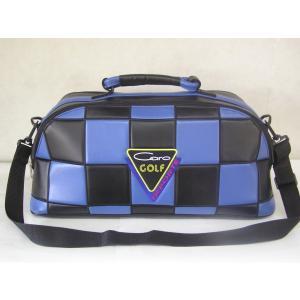 CARO(キャロ)ボストンバッグ ニュースタッフ ゴールデン チェッカー黒×青定価36000円。|harada-golf