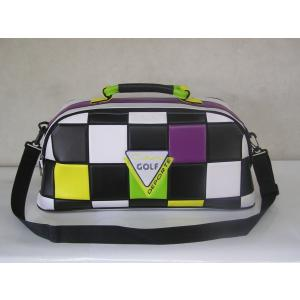 CARO(キャロ)ボストンバッグ ニュースタッフ ゴールデン チェッカー白黒黄緑紫定価36000円。|harada-golf