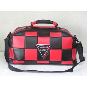 CARO(キャロ)ボストンバッグ ニュースタッフ ゴールデン チェッカー黒×赤定価36000円。|harada-golf