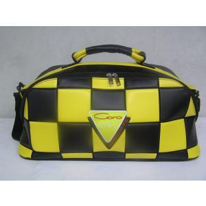 CARO(キャロ)ボストンバッグ ニュースタッフ ゴールデン チェッカー黒×黄定価36000円。|harada-golf