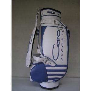 CARO(キャロ)キャディバッグ  ニュー スタッフ ゴールデン 白×青定価127440円(税込み)。|harada-golf