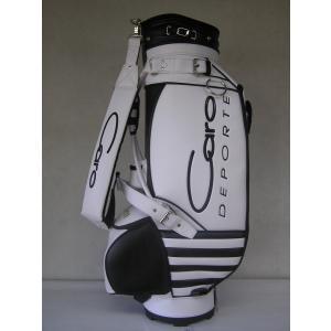 CARO(キャロ)キャディバッグ  ニュー スタッフ ゴールデン 白×黒定価127440円(税込み)。|harada-golf