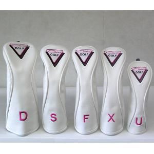 CARO(キャロ)ヘッドカバー ボクサーD/S/F/X/U 5本セット 白×ピンク定価16000円。|harada-golf