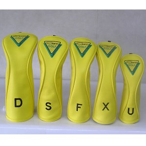 CARO(キャロ)ヘッドカバー ボクサーD/S/F/X/U 5本セット 黄定価16000円。|harada-golf