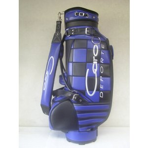 CARO(キャロ)キャディバッグ ニュースタッフ ゴールデン チェッカー黒×青定価138000円。|harada-golf
