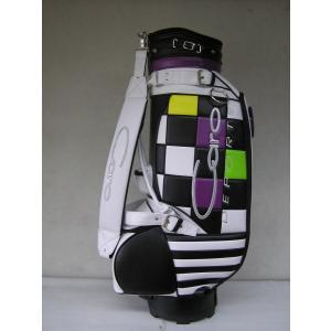 CARO(キャロ)キャディバッグ ニュースタッフ ゴールデン チェッカー白黒緑黄紫定価138000円。|harada-golf