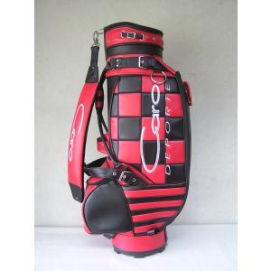 CARO(キャロ)キャディバッグ ニュースタッフ ゴールデン チェッカー黒×赤定価138000円。|harada-golf