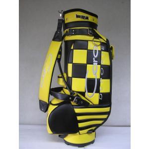 CARO(キャロ)キャディバッグ ニュースタッフ ゴールデン チェッカー黒×黄定価138240円(税込み)。|harada-golf