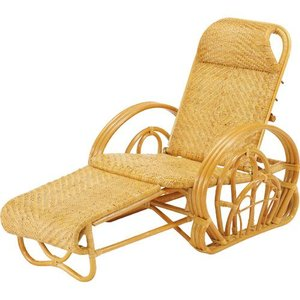 籐家具 ラタン 椅子 チェアー 折りたたみ椅子 リクライニングチェア リラックスチェア アームチェア 籐三つ折リクライニング寝椅子 a100|harda-kagu