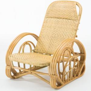 籐リクライニング座椅子 ブラウン 籐家具 藤 ラタン家具 ラタン 椅子 イス いす チェア 籐の椅子 リクライニングチェア 折りたたみ 折り畳み 幅68 奥行84〜110|harda-kagu