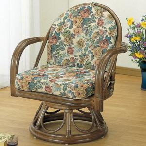 籐家具 ラタン 椅子 チェアー 座椅子 回転いす ラタンチェア パーソナルチェア アームチェア 肘掛け椅子 一人用 籐回転座椅子 ミドル s104b 幅60 奥行55 harda-kagu