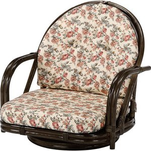 籐家具 ラタン 椅子 チェアー 座椅子 座イス 低座椅子 回転いす パーソナルチェア アームチェア 肘掛け椅子 一人掛け 籐回転座椅子 ロー s251b 幅55 奥行53 harda-kagu