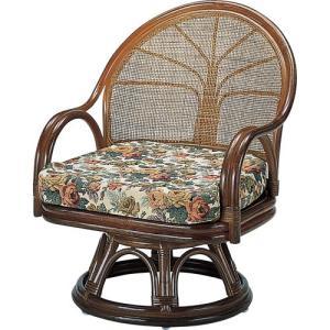 籐家具 ラタン 椅子 チェアー 座椅子 回転いす ラタンチェア パーソナルチェア アームチェア 一人用 籐回転座椅子 ミドル s3005b 幅60 奥行57 高さ75 中|harda-kagu