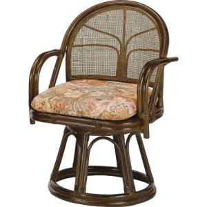 籐家具 ラタン 椅子 チェアー 座椅子 回転いす パーソナルチェア アームチェア 肘掛け椅子 一人掛け 籐回転座椅子 ハイ s304b|harda-kagu