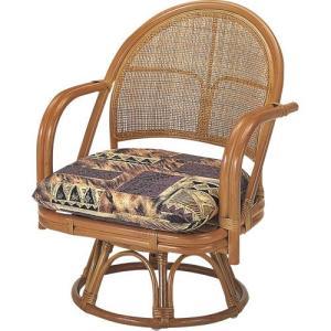 籐家具 ラタン 椅子 チェアー 座椅子 回転いす パーソナルチェア アームチェア 肘掛け椅子 一人用 一人掛け ラタンチェア 籐回転座椅子 ミドル s3501 幅55 中|harda-kagu