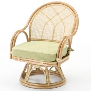籐家具 ラタン 椅子 チェアー 座椅子 回転いす ラタンチェア パーソナルチェア アームチェア 肘掛け椅子 一人用 籐回転座椅子 ミドル s366 幅55 奥行54 高さ74|harda-kagu