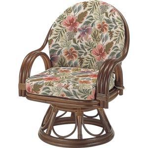 籐家具 ラタン 椅子 チェアー 座椅子 パーソナルチェア アームチェア 肘掛け椅子 回転いす 一人用 籐回転座椅子 ハイ s473 幅58 奥行58 高さ75 座面高さ35cm|harda-kagu