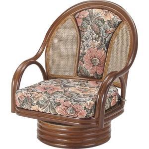 籐家具 ラタン 椅子 チェアー 座椅子 回転いす ラタンチェア パーソナルチェア アームチェア 肘掛け椅子 一人掛け椅子 籐回転座椅子 ミドル s522b 幅55 奥行56|harda-kagu
