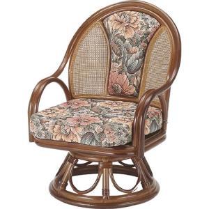 籐家具 ラタン 椅子 チェアー 座椅子 パーソナルチェア アームチェア 肘掛け椅子 回転チェア 回転いす 一人用 籐回転座椅子 ハイ s523b 幅55 奥行56 高さ76 中|harda-kagu