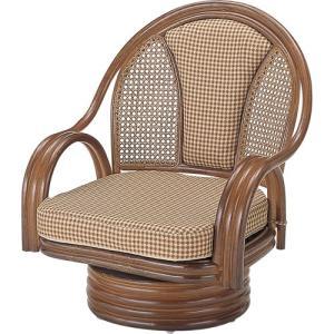 籐家具 ラタン 椅子 チェアー 座椅子 回転いす ラタンチェア パーソナルチェア アームチェア 肘掛け椅子 一人掛け椅子 籐回転座椅子 ミドル s532b 幅58 奥行56|harda-kagu