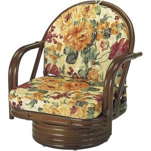 籐家具 ラタン 椅子 チェアー 座椅子 回転いす パーソナルチェア アームチェア 肘掛け椅子 回転チェア ラタンチェア 籐回転座椅子 ミドル s542b 幅55 奥行53|harda-kagu