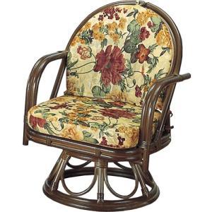 籐家具 ラタン 椅子 チェアー 座椅子 座イス 回転いす ラタンチェア パーソナルチェア アームチェア 肘掛け椅子 一人掛け 籐回転座椅子 ミドル s543b 幅55 中|harda-kagu