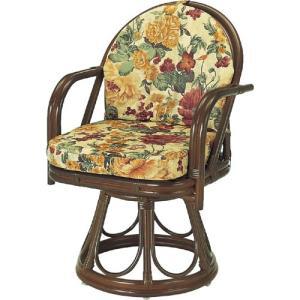 籐家具 ラタン 椅子 チェアー 座椅子 回転チェア 回転いす パーソナルチェア アームチェア 肘掛け椅子 一人用 籐回転座椅子 ハイ s544b 幅55 奥行53 高さ82|harda-kagu