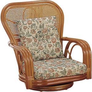 籐家具 ラタン 椅子 チェアー 座椅子 座イス ローチェア パーソナルチェア アームチェア ハイバックチェア 回転いす 籐回転座椅子 ロー s561 幅61 奥行66|harda-kagu