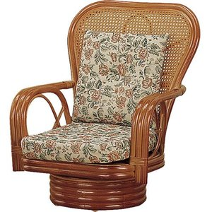 籐家具 ラタン 椅子 チェアー 座椅子 座イス ハイバックチェア 回転いす ラタンチェア パーソナルチェア アームチェア 籐回転座椅子 ミドル s562 幅61 奥行66|harda-kagu