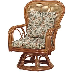 籐家具 ラタン 椅子 チェアー 座椅子 座イス ハイバックチェア 回転いす パーソナルチェア アームチェア 肘掛け椅子 籐回転座椅子 ミドル s563 幅61 奥行66 中|harda-kagu