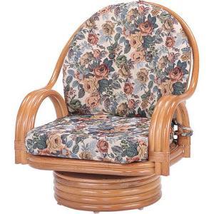 籐家具 ラタン 椅子 チェアー 座椅子 座イス 回転いす ラタンチェア パーソナルチェア アームチェア 肘掛け椅子 籐回転座椅子 ミドル s582 幅58 奥行58 高さ68|harda-kagu