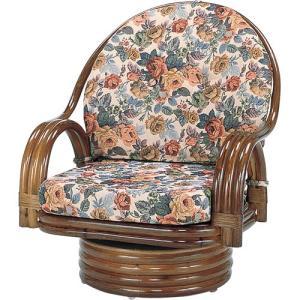 籐家具 ラタン 椅子 チェアー 座椅子 座イス 回転いす ラタンチェア パーソナルチェア アームチェア 肘掛け椅子 籐回転座椅子 ミドル s582b 幅58 奥行58|harda-kagu